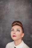 Beautiful fashion woman looking up above Stock Image