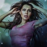 Beautiful fashion woman. Multicolored pop art photo. Stock Images