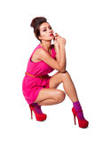 Beautiful fashion woman in pink Stock Photography