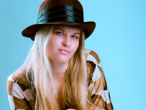 Beautiful fashion woman portrait with brown hat Stock Photo