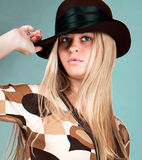 Beautiful fashion woman portrait with brown hat Royalty Free Stock Image