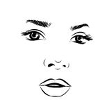 Beautiful fashion woman portrait for make up on background. Vector Stock Image
