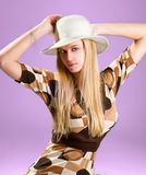 Beautiful fashion woman portrait with white hat Royalty Free Stock Photos