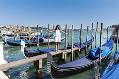 Beautiful fashion woman   in Venice, Italy Royalty Free Stock Image