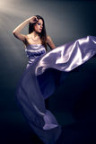 Beautiful fashion woman in violet long dress Stock Photos