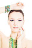 Beautiful Fashion Woman with Vivid Colorful Makeup Royalty Free Stock Photo