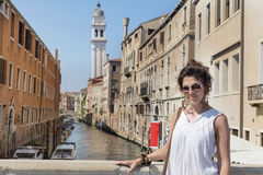 Beautiful fashion woman with white dress   in Venice, Italy Royalty Free Stock Photo