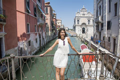 Beautiful fashion woman with white dress   in Venice, Italy Royalty Free Stock Photos