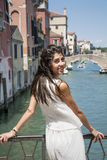 Beautiful fashion woman with white dress   in Venice, Italy Royalty Free Stock Images