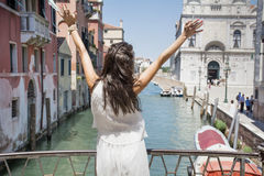 Beautiful fashion woman with white dress   in Venice, Italy Stock Photography