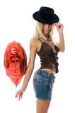 Beautiful Fashion Woman With A Red Party Balloon. Stock Images