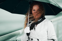 Beautiful Fashion Woman With Umbrella In The Rain Royalty Free Stock Photography