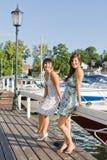 A beautiful fashion women. Staying on a marina Stock Photo