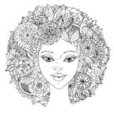 Beautiful fashion women with abstract hair and. Floral design elements could be used  for coloring book.  Black and white in zentangle style Stock Photo