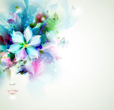 Beautiful fashion women. Face with natural elements, flowers and butterflies stock illustration