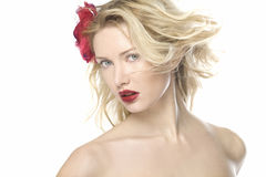 Beautiful fashion women portrait with red lips Stock Photos