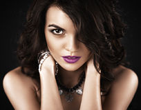 Beautiful fashionable Brunette Girl. Perfect Makeup. Make-up. Close-up Portrait Royalty Free Stock Photography