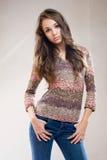 Beautiful fashionable brunette model. Stock Images