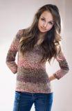 Beautiful fashionable brunette model. Royalty Free Stock Photography
