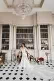 Beautiful and fashionable brunette model girl in long lace dress posing at the vintage luxury interior, wedding royalty free stock photography