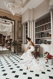 Beautiful fashionable brunette model girl in long lace dress posing in vintage luxury interior, wedding preparation in stock photos