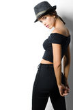 Beautiful fashionable girl in black clothes on white background Stock Images