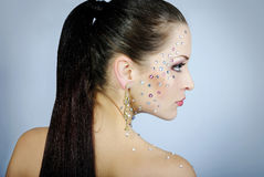 Beautiful fashionable girl  with diamond Royalty Free Stock Image
