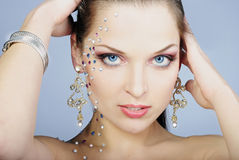 Beautiful fashionable girl  with diamond Stock Image