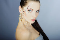 Beautiful fashionable girl  with diamond Stock Photos