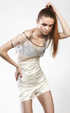 Beautiful fashionable girl in glamour dress Stock Photo