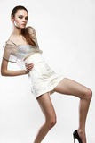 Beautiful fashionable girl in glamour dress Royalty Free Stock Photo
