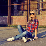 Beautiful fashionable modern young woman in stylish clothes Stock Photos