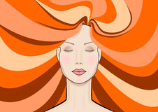 Beautiful fashionable red-haired woman. Face of a beautiful red-haired woman Stock Photo