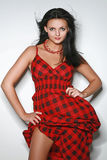 Beautiful fashionable woman. In a dress in red a black cage stock image