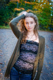Beautiful fashionable teen girl outdoors Royalty Free Stock Images