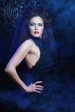 Beautiful fashionable woman in black dress Stock Photography