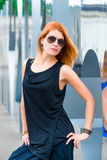 Beautiful fashionable woman in the city Royalty Free Stock Photo