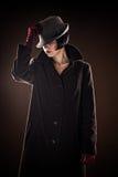 Beautiful fashionable woman detective Stock Photography