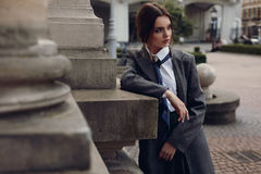 Beautiful Fashionable Woman In Fashion Clothes Posing In Street Royalty Free Stock Image