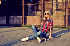 Beautiful fashionable woman female model in stylish clothes outd. Oor Stock Photos