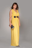 Beautiful fashionable woman in long yellow dress. Stock Photos
