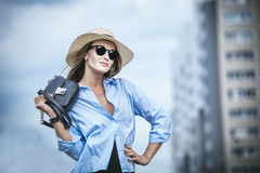 Beautiful fashionable woman portrait in sunglasses business lady stock photography