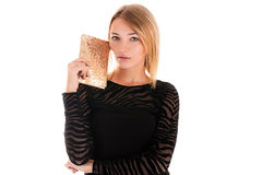 Beautiful fashionable woman with purses Royalty Free Stock Image