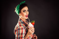 Beautiful fashionable woman in retro style Stock Image
