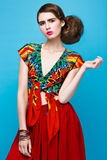 Beautiful fashionable woman an unusual hairstyle Stock Photo