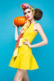 Beautiful fashionable woman an unusual hairstyle Royalty Free Stock Image
