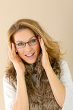 Beautiful fashionable woman wearing eyeglasses Royalty Free Stock Images
