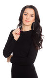 Beautiful fashionable young woman in black dress Stock Image