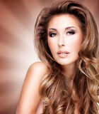 Beautiful fasion model with gorgeous long brown hair Royalty Free Stock Images
