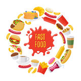 Beautiful fast food icons round background. Beautiful  fast food icons round background. Cheeseburger pizza tea coffee cola chips pancakes donuts french fries Royalty Free Stock Image
